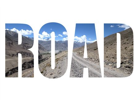 spring  tajikistan: Word ROAD over the road in the mountains with snowy peaks and clouds in the blue sky.