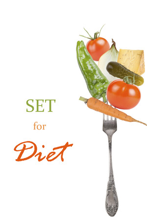 bolter: Set of fresh vegetables isolated on white background. Space for text. Stock Photo