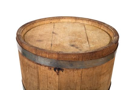 oak barrel: Bottom oak barrel with steel rings on a white background Stock Photo