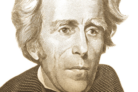 andrew: Portrait of former U.S. President Andrew Jackson on the twenty dollars isolated on white background. Toned. Editorial