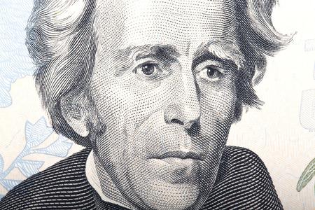 jackson: Portrait of former U.S. President Andrew Jackson on the twenty dollars. Stock Photo