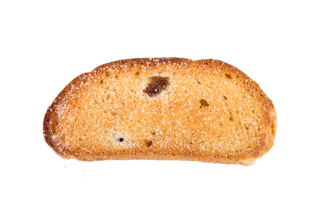 rusk: Rusk with raisins and sugar isolated on a white background.