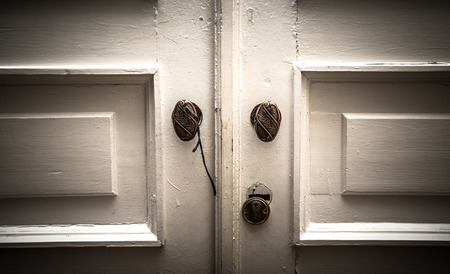Old white door with brass handles. tinted photo