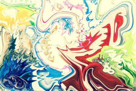 partially: Colorful abstract drawing - background is partially blurred. Toned.