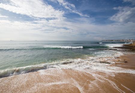 shores: The sandy shores of the Atlantic Ocean. Portugal.