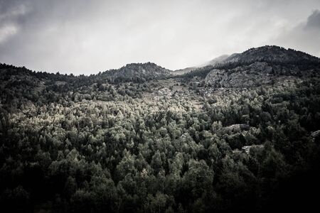 andorra: Forest, mountains and clouds. Landscape. Andorra. Toned.