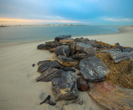 intel: Warm sunrise on the coast. Overlooking the Silver Point County Park. East rockaway Intel. US East Coast.