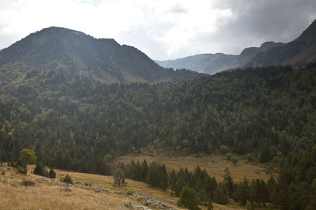 tourism in andorra: Beautiful mountain landscape in Andorra. Mountain and clouds.
