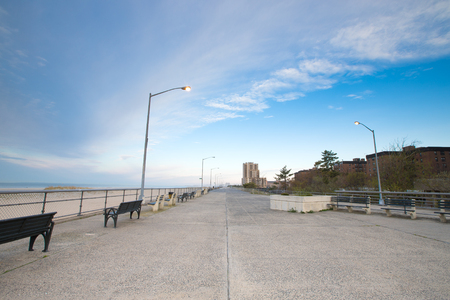 Empty ocean promenade of New York. Stock Photo
