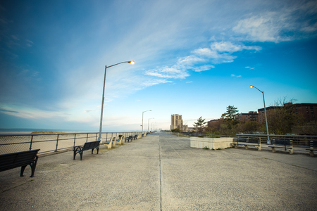 Empty ocean promenade of New York. Toned.