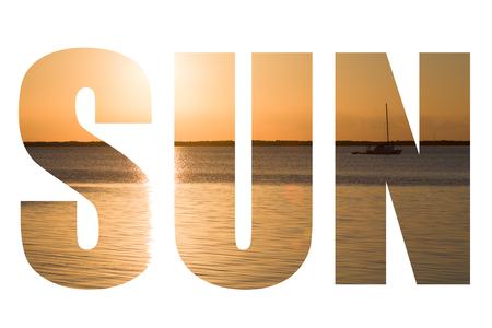 clave sol: Palabra de sol sobre cuadro hermoso atardecer en Key Largo, Florida, EE.UU..