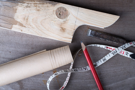 joinery: Joinery tools on an old wooden table. Stock Photo