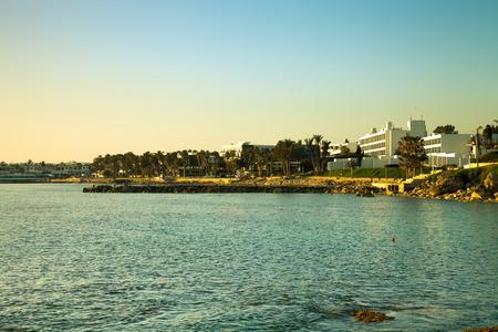 mediterranean houses: Light houses of resort town on the Mediterranean coast. Toned.