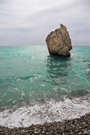 aphrodite: Stone in the bay of the Mediterranean. Cyprus. Birthplace of Aphrodite. Stock Photo