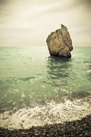 aphrodite: Stone in the bay of the Mediterranean. Cyprus. Birthplace of Aphrodite. Toned. Stock Photo