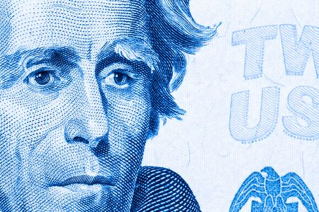 Close up to Andrew Jackson portrait on twenty dollar bill. Toned.