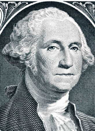 founding fathers: Close up to George Washington portrait on one dollar bill. Toned.