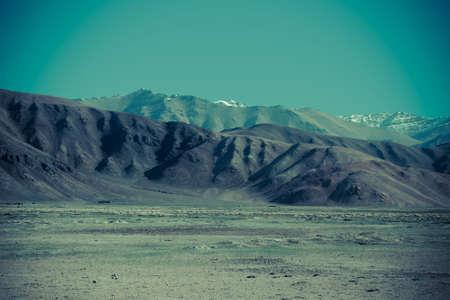 spring  tajikistan: Pamir mountains view in spring season. Tajikistan. Selective focus. Toned.