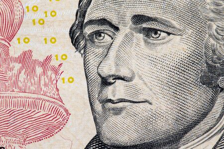 founding fathers: Close up to Alexander Hamilton portrait on ten dollar bill. Stock Photo