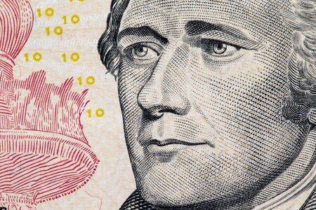 alexander hamilton: Primo piano di Alexander Hamilton ritratto su dieci dollari.