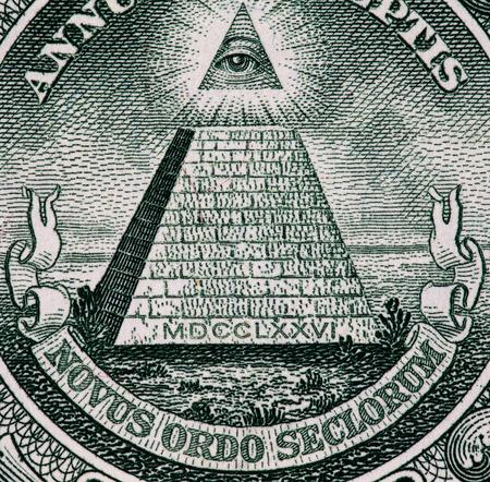 unum: Close up macro detail of dollar money banknotes.
