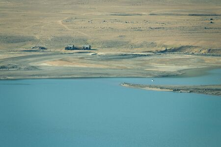 spring  tajikistan: View on lake in spring season in Pamir mountains . Tajikistan. Selective focus. Toned. Archivio Fotografico