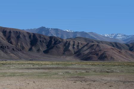 spring  tajikistan: Pamir mountains view in spring season. Tajikistan. Selective focus.
