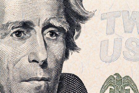 founding fathers: Close up to Andrew Jackson portrait on twenty dollar bill. Stock Photo