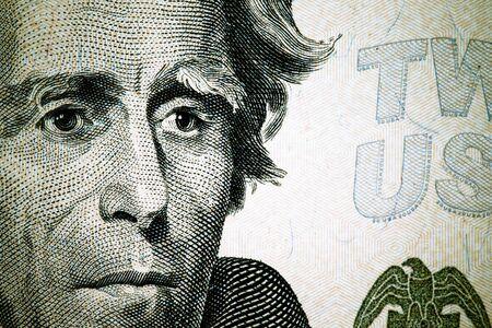 founding fathers: Close up to Andrew Jackson portrait on twenty dollar bill. Toned.