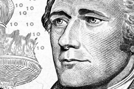 alexander hamilton: Primo piano di Alexander Hamilton ritratto su dieci dollari. Tonica. Archivio Fotografico