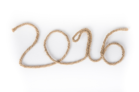 billet: The number 2016 of rope on a white background. Christmass theme. Billet for postcard or calendar. Stock Photo