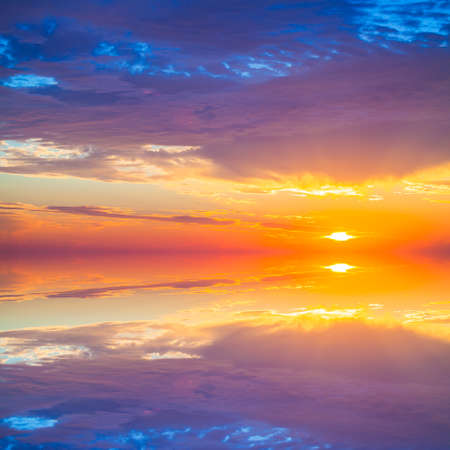 mirror on the water: Beautiful colorful sunset over mediterranean sea is reflected in mirror water of harbor in Alanya Turkey. Stock Photo
