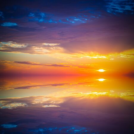 mirror on the water: Beautiful colorful sunset over mediterranean sea is reflected in mirror water of harbor in Alanya Turkey. Toned.