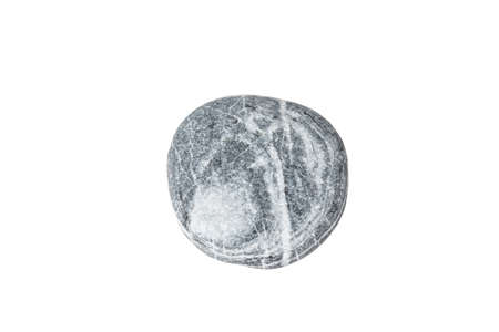 black stone: Wild pebble stone isolated on white background. Stock Photo