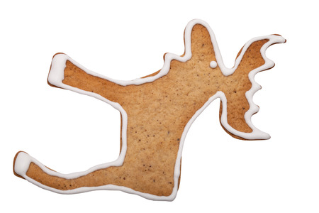 Homemade gingerbread cookie with colored frosting isolated on a white background. Stock Photo