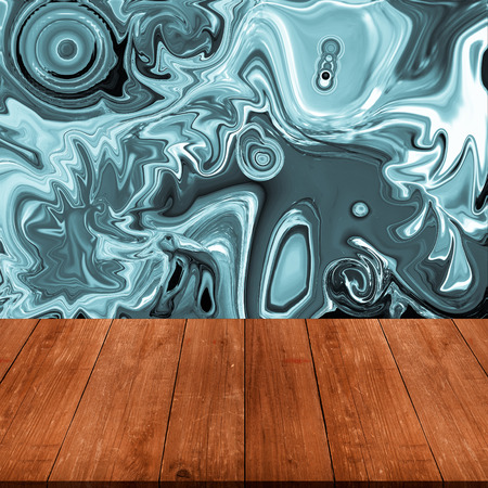 partially: Colorful abstract drawing - background is partially blurred behind old dark wooden table or board. Collage. Space for text. Stock Photo
