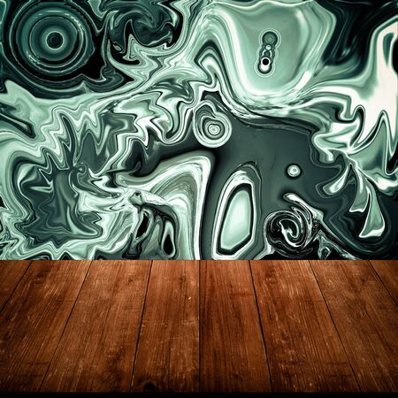 partially: Colorful abstract drawing - background is partially blurred behind old dark wooden table or board. Collage. Space for text. Toned.