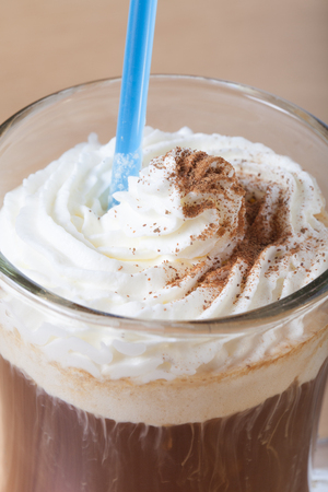 barmen: Cup of coffee with whipped creams. Stock Photo
