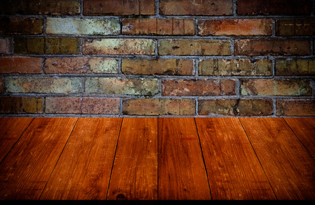 gangway: Red brick wall texture. Background. View from dark wooden gangway, table or bridge. Collage. Toned.