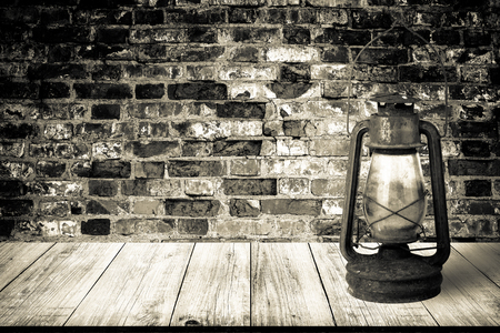 Wall Of Old Red Bricks Background View From Dark Wooden Gangway Table Or