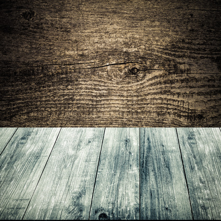 gangway: Old grey wooden wall texture. Background. View from dark wooden gangway, table or bridge. Collage. Toned.