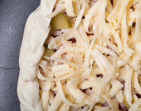 queso rallado: sin preparación de pizza con queso rallado.