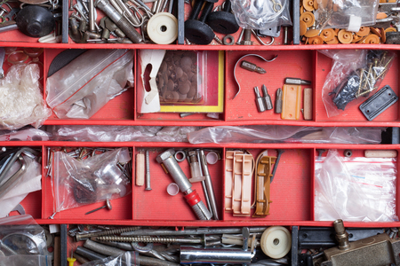 woodcraft: The contents of the old toolbox. Top view. Stock Photo