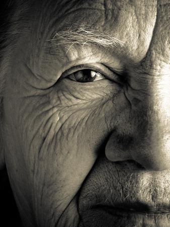 Portrait of elderly woman. Closeup view. Toned. Standard-Bild