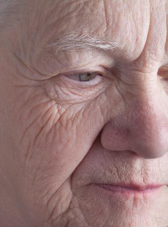 grayness: Portrait of elderly woman. Closeup view. Stock Photo
