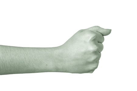 hi back: Arm of young girl on white background close up. Toned. Stock Photo
