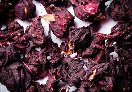 variation: Hibiscus tea as texture for background. Toned.