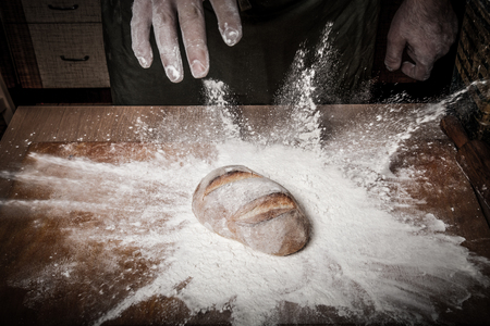 milling rolling: The process of making home bread by male hands. Toned.