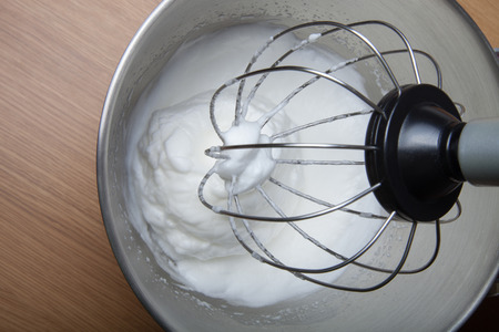 planetary: The process of whipping egg whites in a planetary mixer.