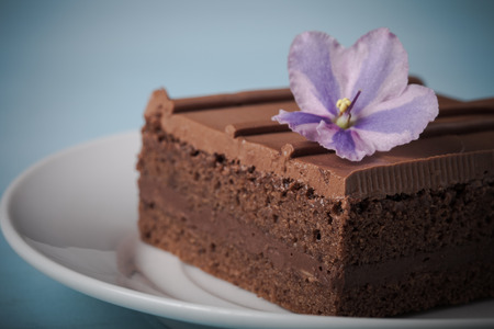 key of paradise: Piece of chocolate cake on white plate on blue background. Selective focus. Shallow depth of field. Toned. Stock Photo